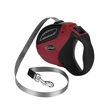 Laisse de Chien Rétractable, Laisse pour Chien Enrouleur de 5M Durable et Confortable Laisse de Dressage pour Toutes Les Tailles de Chien Jusqu?à 50kg Laisse Réglable (Noir et rouge)
