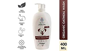 Petlogix Natural & Organic Oatmeal Wash Shampoo for Pet Dogs & Puppies Anti Itch Cleanser with Coconut & Aloevera Mineral Oil, SLS & Paraben Free, 400ml