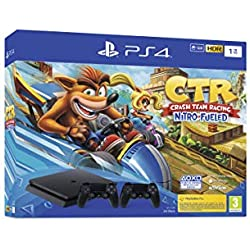 PS4 Slim 1 To F noir avec Crash Team Racing et 2nd Dual Shock 4 Noire V2