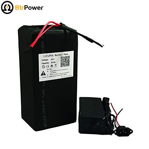 BtrPower LiFe04 - Batería de Litio para Bicicleta eléctrica de 1000 W 36 V, 20 Ah