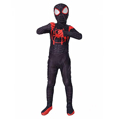 SHANGN Halloween Cosplay Dress Up Avengers Eisen Schwarz Spider-Man Kostüm Siamesische Strumpfhose | Thema Party Spandex Dress Up Bodysuit,Child-XL (Avengers Dress Up)