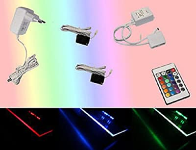 TRANGO® 2er Set RGB LED Farbwechsel Glasbodenbeleuchtung Glaskantenbeleuchtung Clips inkl. Empfänger - Multi-Funktion Fernbedienung und TÜV/GS 12V Netzteil von Trango bei Lampenhans.de
