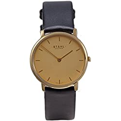 Stahl SWISS MADE Wrist Watch Model: ST61372 - Stainless Steel - Extra Large 36mm Case - Bar Gold Dial