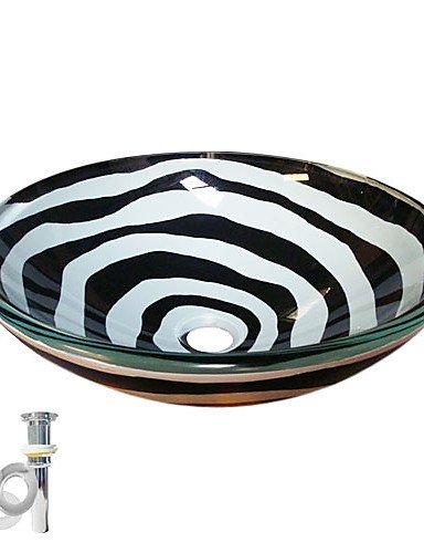 noir et blanc évier récipient en verre trempé avec pop-up et la bague de montage