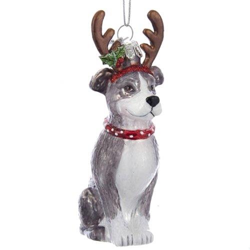 Kurt Adler Noble Gems Glas Pitbull W/Geweih Ornament -