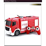 Ajmeri RC Cement Mixer Truck 4 Wheel Drive 8 Channel Remote Control RC Heavy Construction Electronics Hobby Toys Simulation Lights Sounds (Fire Rescue)