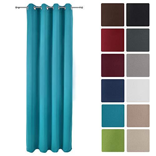 Beautissu tenda oscurante con occhielli serie amelie bo - 140x245 cm - turchese - per finestre e balconi