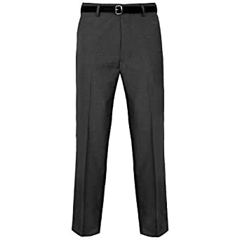 Mens Formal Trousers Casual Business Office Work Home Belted Smart Dress Pants Straight Leg Flat Front Everpress Pockets Plus Free Belt Big King Size 30-50(Charcoal Grey, 30/27)