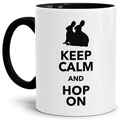 Tassendruck Oster-Tasse Keep Calm Innen & Henkel Schwarz/Ostern/Witzig/Lustig/Tasse mit Spruch/Schön/Kaffeetasse/Oster-Geschenk Qualität - 25 Jahre Erfahrung (Mikrowellen Oster)