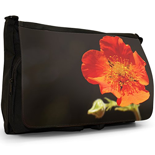Fancy A Bag Borsa Messenger nero Daisy Blossoming Red Poppy