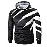 UFACE Herren 3D Print Langarm Hoodie Pullover Top Langarm Bedrucktes Hoodie Kapuzen Sweatshirt Top T Outwear Bluse(Schwarz,L
