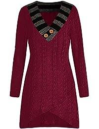 Sonnena Mode Frauen Casual Plus größe Langarm v-Ausschnitt Kabel gestrickte  Longline Pullover Tops Damen Bluse Weich Bequem Sport… 227c0cb257
