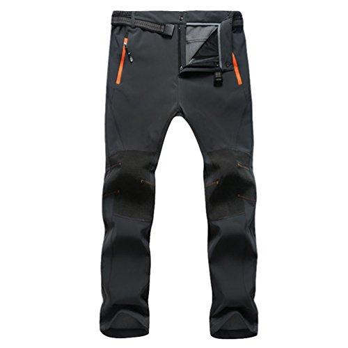 YiLianDa Pantaloni Softshell da Uomo Lunghi Impermeabile A Prova di Vento con Vello Interno Escursionismo e Campeggio Outdoor Sport