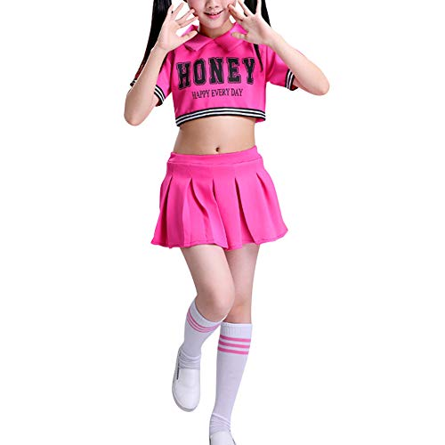 Daytwork Cheerleader Kinderkostüm Karneval Fasching - Kostüm Schule Mädchen Uniform Junge Performance Street Dance Top + Rock oder Kurze Hosen (Mädchen Schule Uniform Hose)