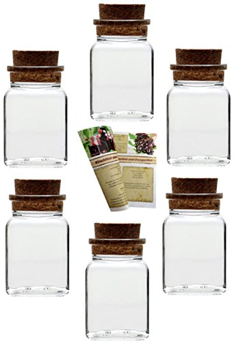 """Flaschendiscount gouveo 24er Set Gewürzgläser Quadrat 150"""" incl Rezeptbroschüre, Ideal für Gastgeschenke, Gewürze, Korkengläser, Glasdose, Aufbewahrungsglas, Korkenglas eckig (24er Set, 150 ml)"""