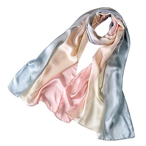 Foulard/sciarpa 100% seta satinato per donna colore sfumato, scialle di eleganti ed moda 70,8
