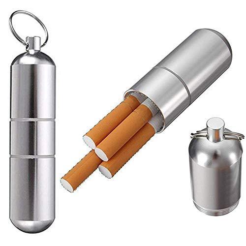 Schlüsselanhänger Zigarettenetui (2 Stücke), Zigarettenetui Mini Aluminium Schlüsselanhänger für Herren Frauen Wasserdichte Runde Zigaretten Taschen Box -