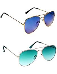 Y&S Combo Offer Pack Of UV Protected Stylish Branded Aviator Sunglasses For Men Women Boys & Girls ( Golden Blue...