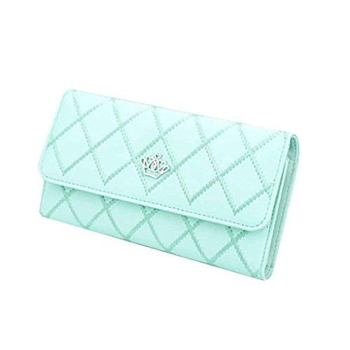 Miaomiao Lattice Grids modello PU borsa portafoglio borsa borse donna borsa lunga azzurro