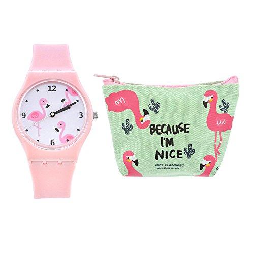 Godagoda Kinder Armbanduhr Silikon Flamingos Muster Druck Deko Wasserdicht Quarzuhr Geschenke für Studenten mit Münzbörse