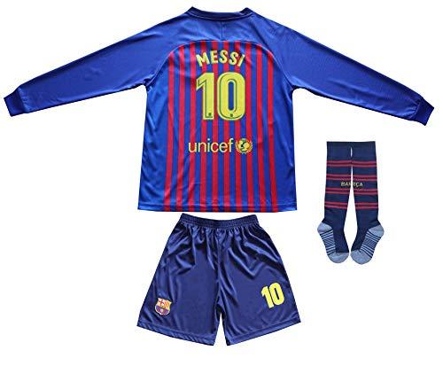 2018/2019 Barcelona #10 Lionel Messi Heim Lange Ärmel Kinder Fußball Trikot Hose und Socken Kindergrößen (Heim, 26 (8-10 Jahre))