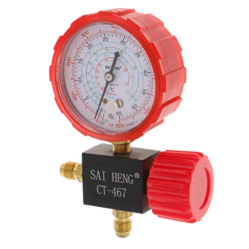 LOVIVER Klimaanlage Hinzufügen Von Messgerät 3 Wege Hochdruck Manometer Ventil Getestet, Luftkühlungstest Reparatur Manometer Set, Kfz Zubehör -