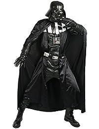 Halloween Cosplay Vader Kostüm Erwachsene Herren Schwarz Deluxe Suit Kleidung Fancy Dress Outfit mit Gürtel Handschuhe