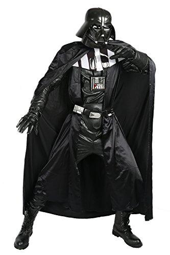 Nexthops Darth Vader Costume Carnevale Cosplay Tutto Nero Satin+Pelle+PVC Full Suit 8PZ Accessorio Natale Pasqua Halloween Coll Supereroe per Uomo Donna Adulti S