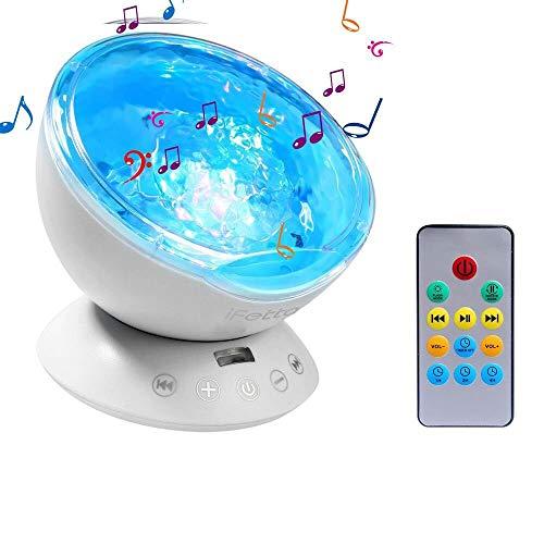 Ifecco oceano proiettore lampada, luce notturna a led luci d' atmosfera con musica altoparlante/telecomando per bambini camera da letto soggiorno party compleanno regal
