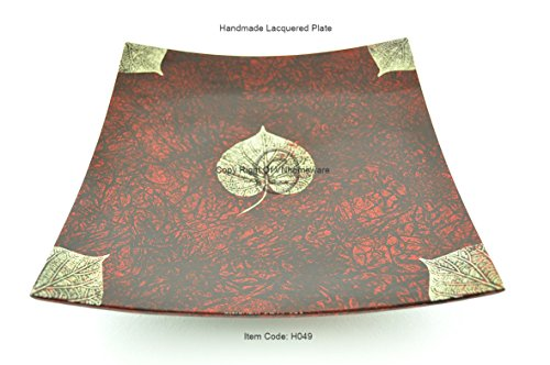 Handmade Lacquer Wooden Plate, Curving Square Shape, Decorative And Serving Plate, Large Size, Red, H049L by viethuy03
