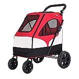 Hundebuggy Hundewagen Kinderwagen für kleine, mittelgroße und klein große Hunde, Faltbarer, Leichter Kinderwagen mit 4 Rädern