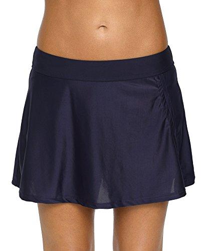 Attraco Damen Baderock Bikini Tankini Bottom Solid Swimdress Rock - blau - Large -
