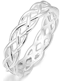 MunkiMix 925 Sterling Silver Ring Band Silver Triquetra Irish Celtic Knot Wedding Fashion Love Women