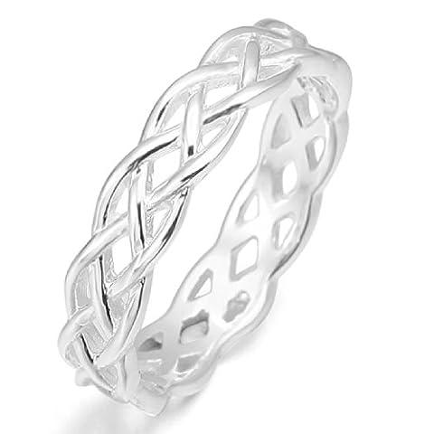 MunkiMix 925 Argent Fin 925/1000 Anneau Bague Bague Argent Triquetra Irlandais Celtic Celtique Nœud Mariage Amour Taille 49 Femme