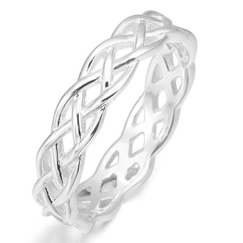 MunkiMix 925 Sterling Silber Ring Band Silber Triquetra Irisch Keltisch Knoten Dreiecksknoten Hochzeit Wedding Eheringe Lieben Größe 60 (19.1) Damen