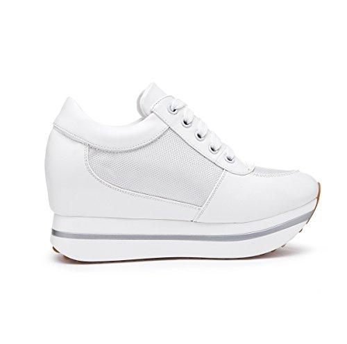 0d572d1f414e ... Damen Sneaker Plateau Unsichtbar Erhöhung mit Strass Verziert  Atmungsaktiv Rutschhemmend Leicht Weich Modisch Schnürhalbschuhe Weiß ...