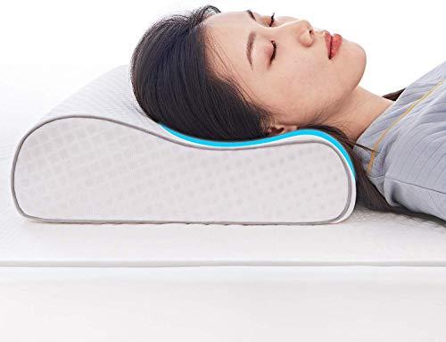 Sweetnight Orthopädisches Kissen Nackenstützkissen-Memoryfoamkissen gegen Nackenschmerzen und Rückenschmerzen als Seitenschläferkissen mit waschbare Kissenhüllung, 60 x 40 x 12/9 cm