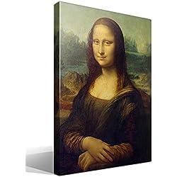 Canvas lienzo bastidor Gioconda o Mona Lisa de Leonardo Da Vinci - Ancho: 45cm - Alto: 55cm - Bastidor: 3cm - Imagen alta resolución - Impresión sobre Lienzo de Algodón 100% - Bastidor de madera 3x3cm - reproduccion digital de obras de arte - Cuadro de calidad superior - Fabricado en España