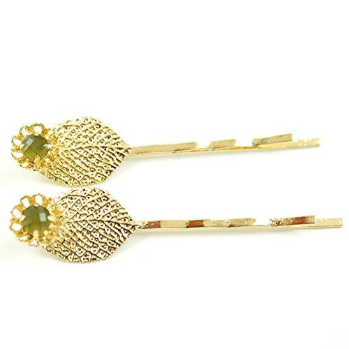 rougecaramel - Accessoires cheveux - Mini pince fantaisie métal doré forme feuille 2pcs - vert