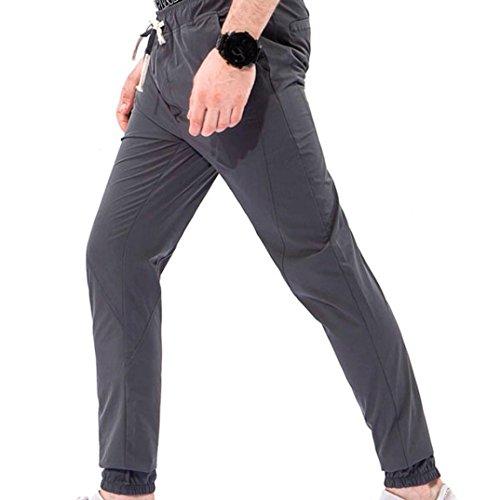Overalls Classic❤️Fit Kurze Tasche Kordelzug Casual Beach Hose Leinen Strand Hosen Jean Jacket Sport Sommer Hosen Hosen PantsBrand M/L/XL/2XL/3XL/4XL (Dunkelgrau Grau, 3XL) (Asiatische Kostüme Männlich)