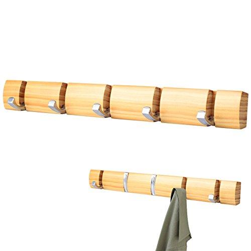 Baytter Hakenleiste Garderobenleiste Wandgarderobe Kleiderhaken mit 5 Haken, aus Holz (holzfarbig)