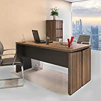 Artany MDP Desk for Office and Home Office, Nogal Brown with Black,Y37 Line