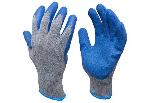 G & F 3100 Strickhandschuh mit texturierter Latexbeschichtung, 12 Paar, Größe L, 12 Stück, blau, 3100XL-10 -