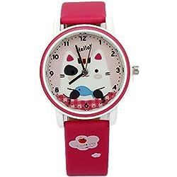 foxqueena-142PU Synthetik Leder Gurt Cartoon Katze Kinder Quarz Handgelenk Uhren Pflaume rot
