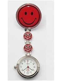 Collection&Joy Reloj de bolsillo para trabajadores sanitarios con cara sonriente. Enganche de pinza (Cara sonriente con el corazón el amor, Rojo)