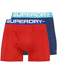 Superdry Sport Boxer Shorts Underwear Double Pack Sonic Blast Blue/Yacht Club Red
