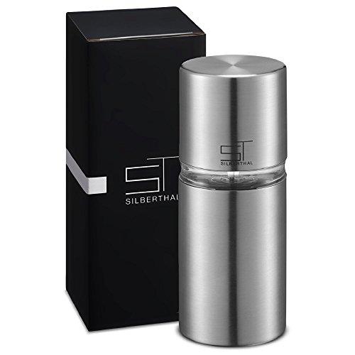 SILBERTHAL Muskatmühle mit integriertem Vorratsbehälter für 6 Nüsse | Muskatnussmühle aus Edelstahl mit Glasfenster | Maße: 7 x 7 x 16 (Kleine Gewürz-mühle)