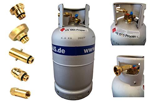 Drehmeister ALUGAS Gasflasche 27L mit 80% Multiventil & Tankadapter + Direktbetankungsadapter - Gasflasche wiederbefüllbar, Propangasflasche für Wohnmobil, Caravan, Camping