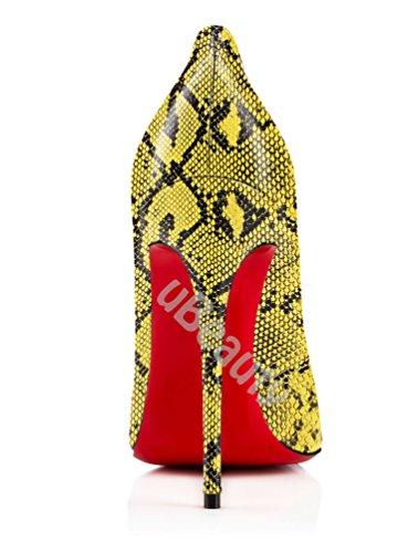 uBeauty Damen High Heels Stilettos Slip-on Pumps Spitze Zehen Klassischer Übergröße Serpentin Pumps Serpentin D