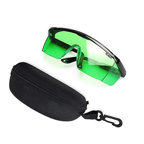 Huepar GL01G Grün Laserlichtbrille - Grün Laserbrille für Grüner Strahl Kreuzlinienlaser, Rotationslaser und Mehrlinienlaser - zur Verbesserung der Sichtbarkeit des Grünen Strahls (inkl. Schutzbox) (Grün Schutzbrille)